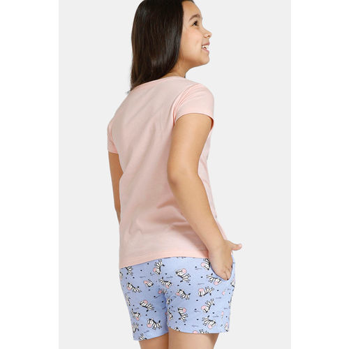 Zivame GRL Knit Cotton Shorts Set - Pink