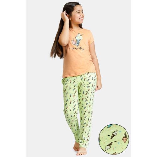 Zivame GRL Knit Cotton Pyjama Set - Green