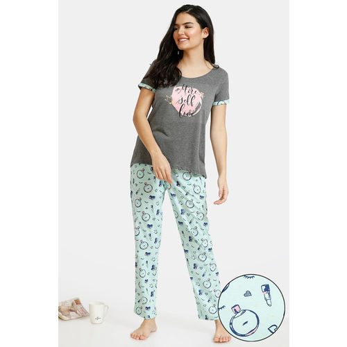 Zivame Slumber Chic Knit Cotton Pyjama Set - Mint Grey