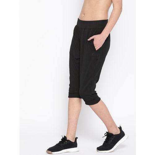 Reebok Women Black Studio Cropped Jersey Pants