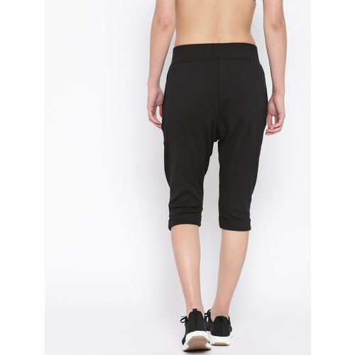 Reebok Women Black Studio Cropped Jersey Pants