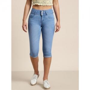 Kraus Jeans Women Blue Solid Regular Fit Capris
