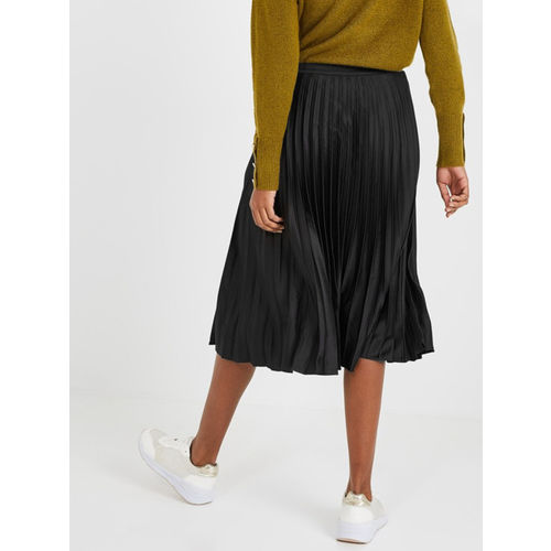 Promod Women Black Solid Accordion Pleated Flared Midi Skirt