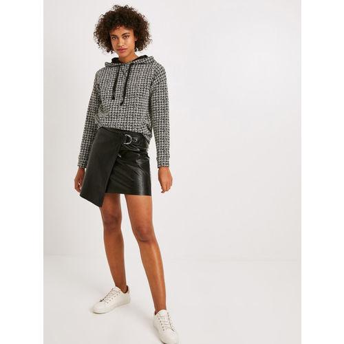 promod Women Black Self-Design Straight Mini Wrap Leather Skirt