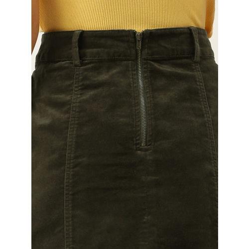 FOREVER 21 Women Olive-Green Solid Velvet A-line Mini Skirt