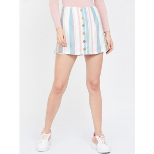 Ginger by Lifestyle Women White & Blue Striped High-Rise Mini Skorts