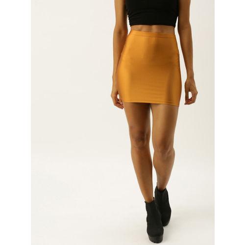 FOREVER 21 Women Rust Orange Solid Mini Pencil Skirt
