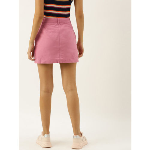 FOREVER 21 Women Pink Solid Straight Mini Skirt