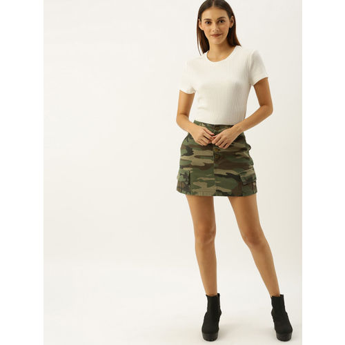 FOREVER 21 Women Olive Green & Brown Camouflage Printed Mini Skirt