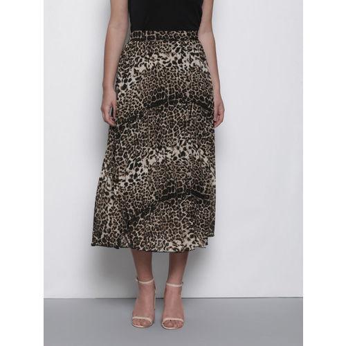 DOROTHY PERKINS Women Beige & Black Animal Print Accordian Pleated A-Line Skirt