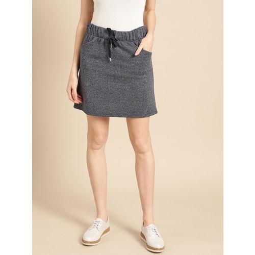 promod Women Navy Blue & Grey Melange Checked Straight Mini Skirt