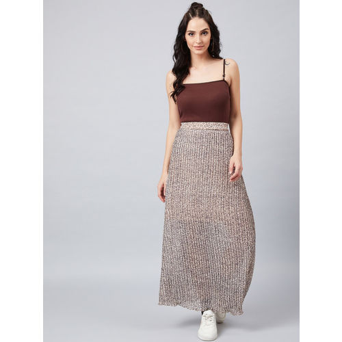 Athena Women Beige Printed A-Line Pleated Maxi Skirt