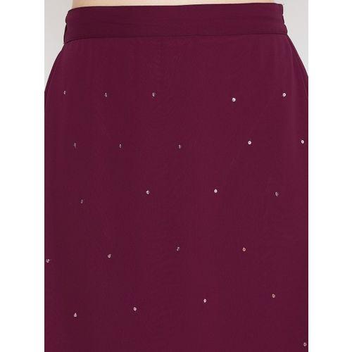 Bitterlime Women Burgundy Solid Midi A-line Skirt