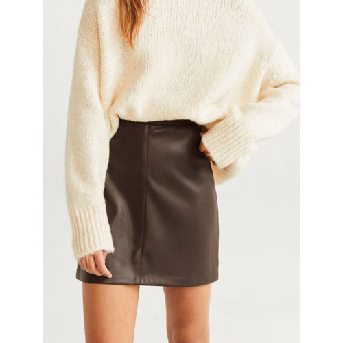 MANGO Women Olive-Green Solid Straight Mini Skirt