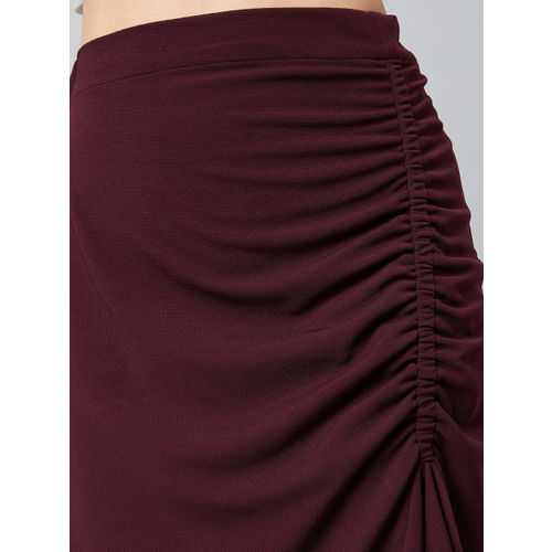 Athena Women Burgundy Solid A-Line Midi Skirt With Front Frill Detail