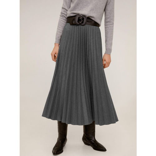 MANGO Women Charcoal Grey Solid Accordian Pleated A-Line Skirt