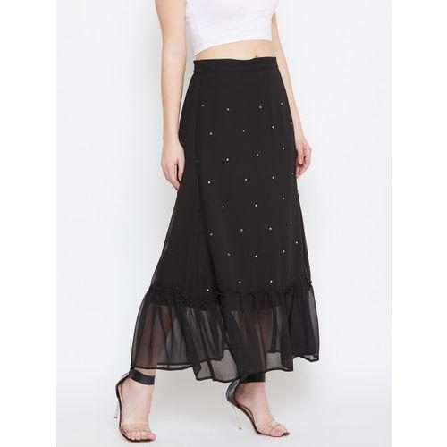 Bitterlime Women Black Solid Midi A-line Skirt