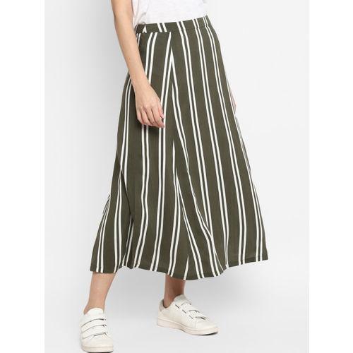 MIAMINX Women Olive Green & White Striped A-Line Midi Skrit