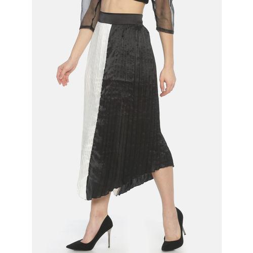ISU Women Black & White Colourblocked Pleated A-Line Midi Skirt