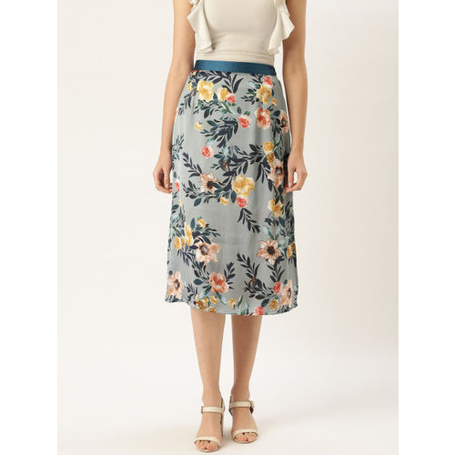 WISSTLER Women Blue & Mustard Yellow Satin Finish Floral Print A-Line Skirt