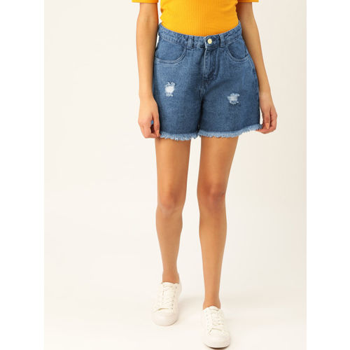 DressBerry Women Blue Washed Regular Fit Denim Shorts