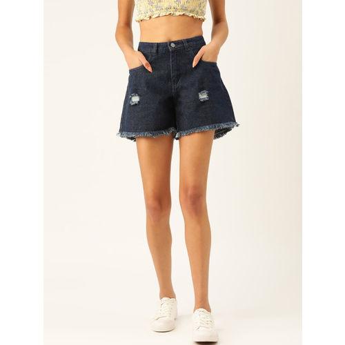 DressBerry Women Navy Blue Washed Regular Fit Denim Shorts