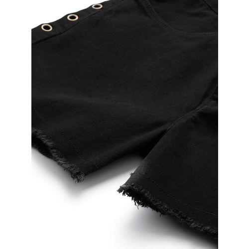 DressBerry Women Black Solid Regular Fit Denim Shorts