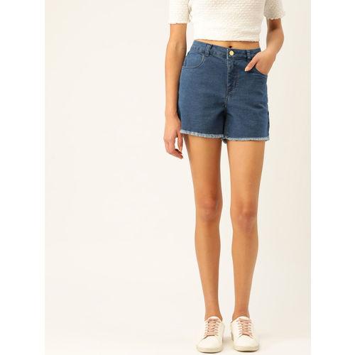 DressBerry Women Blue Solid Regular Fit Denim Shorts