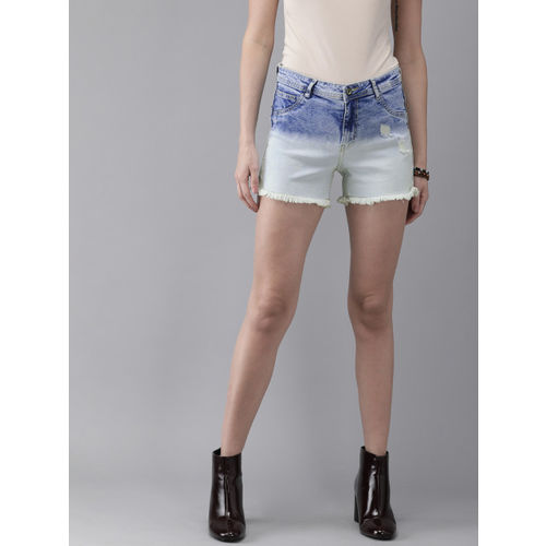 Roadster Women Blue Regular Fit Washed Distress Heavy Fade Denim Shorts