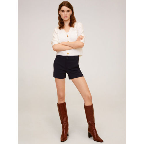 MANGO Women Navy Blue Solid Regular Fit Shorts