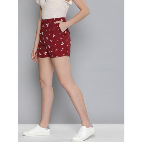 Mast & Harbour Women Red & White Printed Regular Fit Shorts