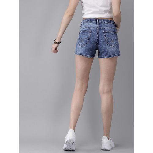 Roadster Women Blue Regular Fit Washed Faded Denim Shorts