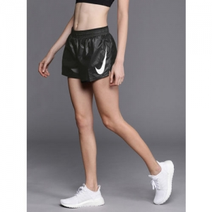 Nike Women Black Solid Standard Fit Running Sports Shorts