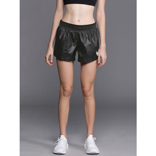 Nike Women Black Solid Standard Fit Running Sports Shorts