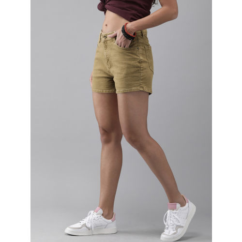 Roadster Women Khaki Solid Regular Fit Denim Shorts