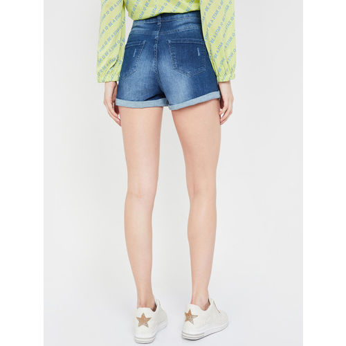 Ginger by Lifestyle Women Blue Washed Regular Fit Denim Shorts