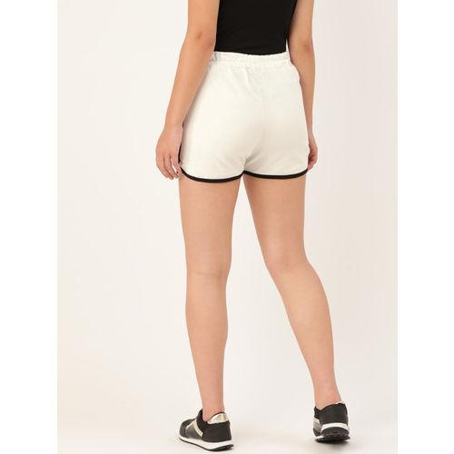 Rute Women White Solid High-Rise Regular Shorts
