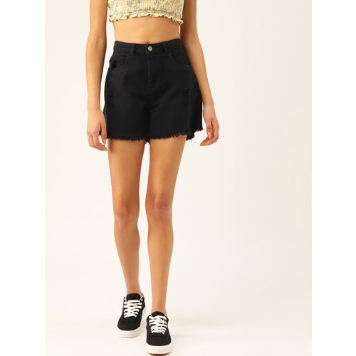 DressBerry Women Black Solid Regular Fit Denim Shorts