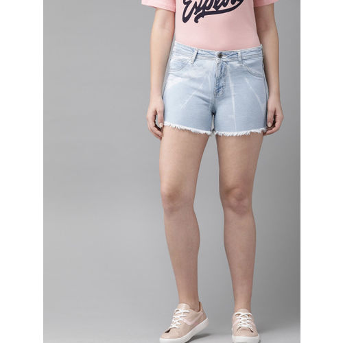 Roadster Women Blue Washed Regular Fit Denim Shorts With Raw Edge