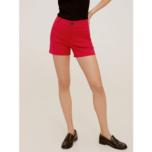 MANGO Women Red Solid Regular Fit Shorts