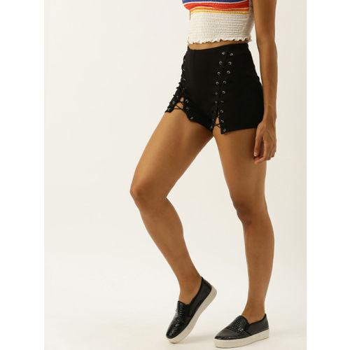 FOREVER 21 Women Black Solid Regular Fit Lace-Up Regular Shorts