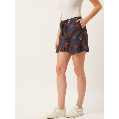 Alsace Lorraine Paris Women Navy Blue & Orange Printed Regular Shorts