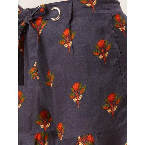 Alsace Lorraine Paris Women Navy Blue & Orange Printed Regular Shorts