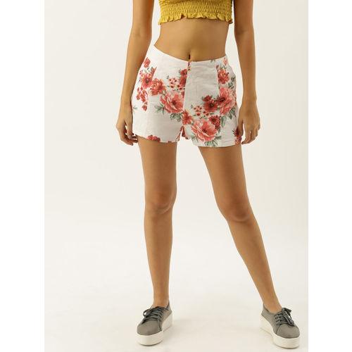 FOREVER 21 Women White & Pink Printed Regular Fit Regular Linen Shorts