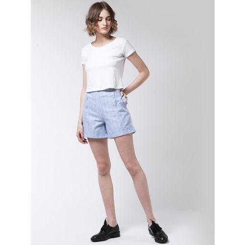 MAGRE Women Blue Striped Regular Fit Regular Shorts