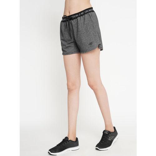 4F Women Grey Melange Solid Slim Fit Sports Shorts