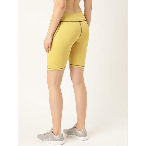 DressBerry Women Yellow Solid Regular Fit Sports Shorts