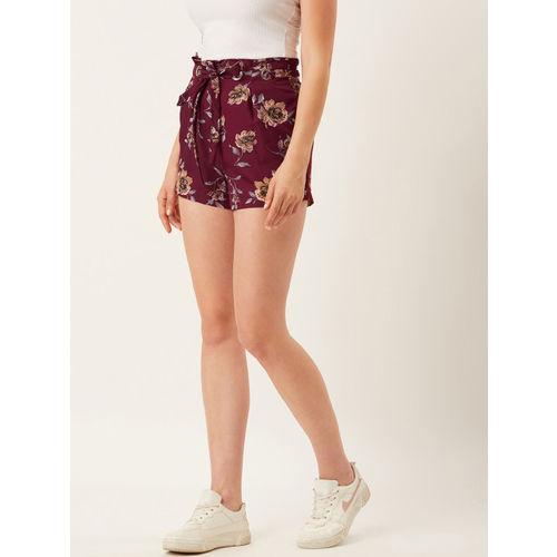 Alsace Lorraine Paris Women Burgundy & Peach-Coloured Floral Printed Regular Fit Shorts