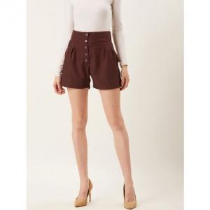Alsace Lorraine Paris Women Brown Solid Regular Fit Shorts