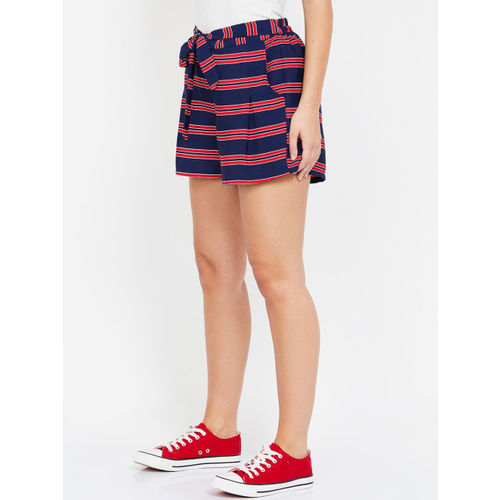 Ginger by Lifestyle Women Navy Blue & Red Striped Regular Fit Shorts